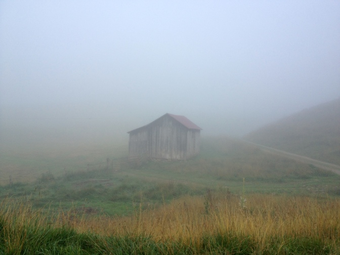 Old barn in the morning mist, Vinegar Hollow.