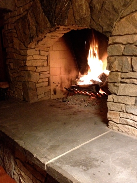 Hearth with small fire