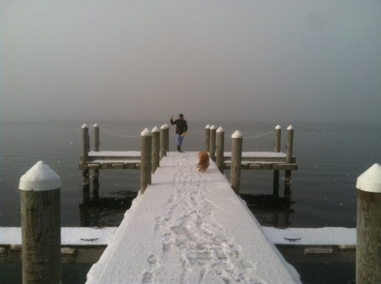 Jack and Daisy on Aurora Inn Dock (photo by David Fernandez; Christmas, 2013)