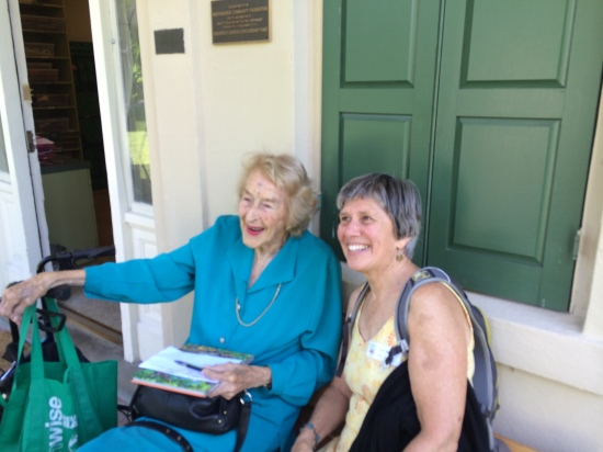 Elizabeth Scholtz (left),   Director Emeritus of BBG, and Ruth Harzula, fellow instructor in the Children's Garden.