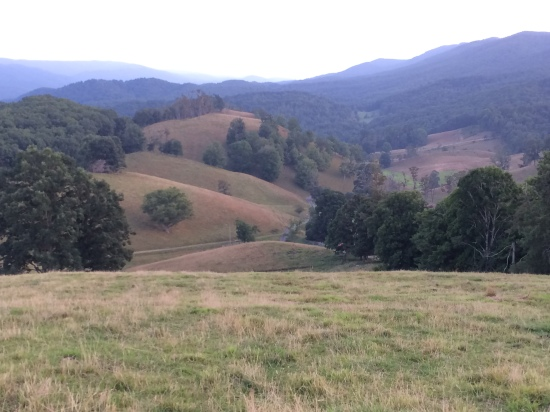 Vinegar Hollow. Stark's Ridge is the farthest bare mountain top (left of center). Back Creek Mountain stretches off on far top right.
