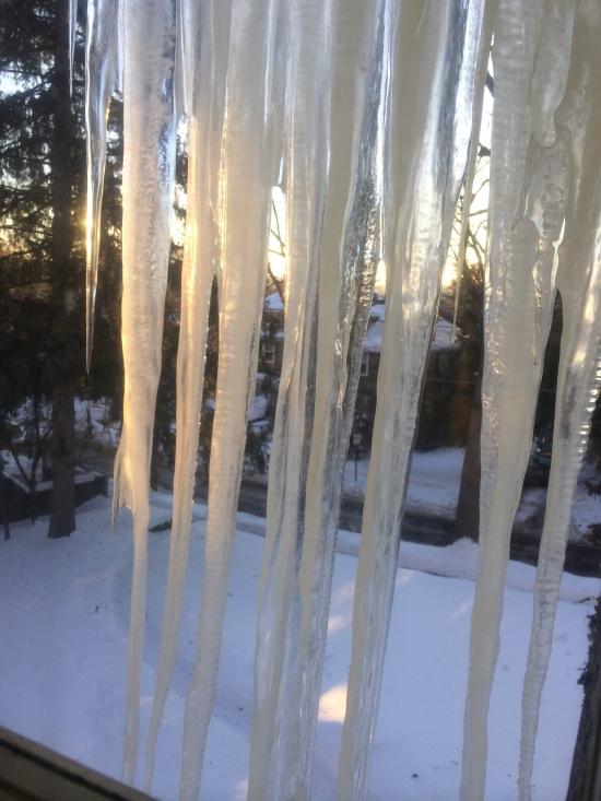 Setting sun gilds the icicles hanging outside the bathroom window.